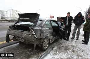 Два человека травмированы при столкновении девяти машин на МКАД в Минске